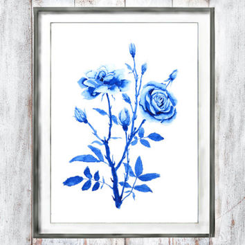 Watercolor Print Vintage Botanical Print Purple blue  flower rose watercolor painting wall decor floral art watercolor flower  wall art