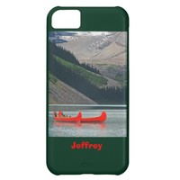 iPhone 5c Case Mountains & Red Canoes