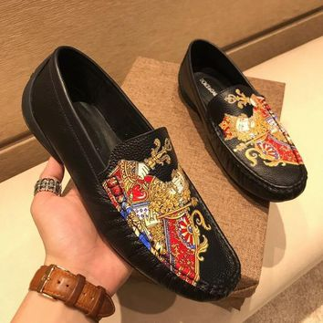 Dolce & Gabbana D & G Leather London Slip-on Sneakers With Patches Of The Designers Cs15875268i689