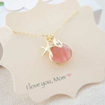 Personalized gold starfish and strawberry pink quartz necklace, wedding, bridesmaids, mother of bride, gift