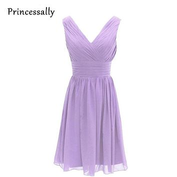 Purple Lilac Lavender Bridesmaid Dresses Chiffon Maid of Honor Sexy V-neck Knee Length Bridesmaids Dresses Cheap-party-dress