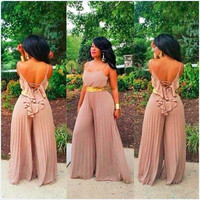 Khaki Lace-Up Back Pleated Wide-Leg Jumpsuit