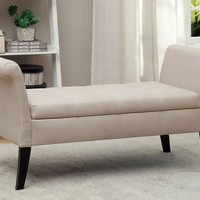 Doheny Contemporary Bench With Storage In Ivory Finish