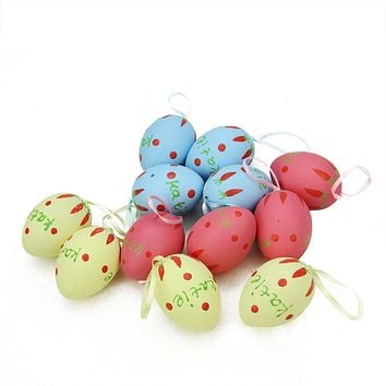Set of 12 Pastel Yellow Blue and Pink Spring Easter Egg Ornaments 2.25""