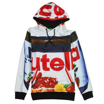 2016 fall/winter women Nutella sweatshirts novelty clothing 3d print chocolate pullover harajuku hoodies  plus size HD18