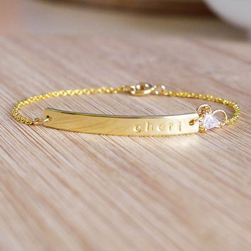 Dainty Name Plate Bracelet- Personalized Brass Name Bar Bracelet Dainty Jewelry Wedding Gift Ideas Solitaire Design Create Your Own Jewelry