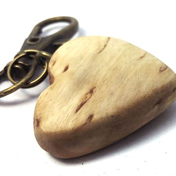 LV-4330 Masur Birch Wooden Heart Shaped Charm, Keychain, Wedding Favor-HAND CARVED