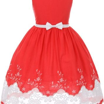 Girls Bright Red Cotton Dress with Sheer Lacy Embroidery 2T-10