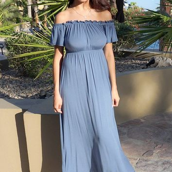 The Very Thought Of You Slate Blue Off The Shoulder Maxi Dress