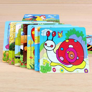 Free Shipping 3D Animal Wood DIY Jigsaw Puzzle For Children Cartoon Puzzle Baby early Childhood Educational Toys 15*15cm