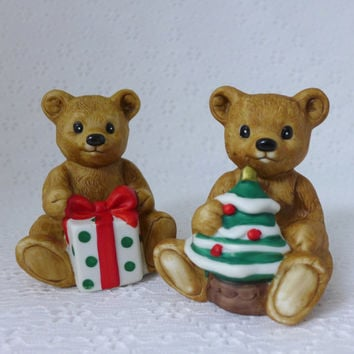Pair Teddy Bear Figurines, Homco Teddy Bears, Christmas Bears, Bisque Porcelain, Bears with Gift and Tree, Holiday Decor
