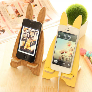 Universal Mobile Wood Holder Charging Bracket Cute Lovely Animal Cellphone Socket Wooden Dock Stand Holder Phone Stand Pad