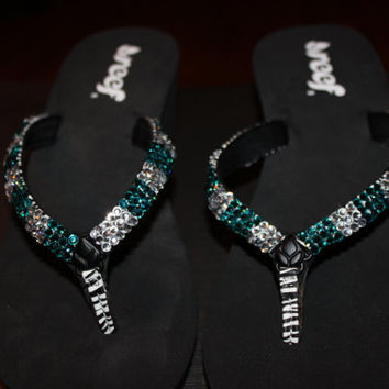 Size 8 Bling wedge flip flops, flip flops with bling, teal and clear flip flops, wedge flip flops, turquoise flip flops, blingy flip flops