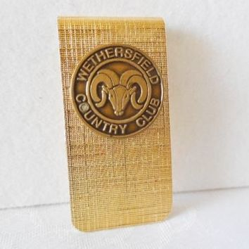 Vintage WETHERSFIELD COUNTRY CLUB Goldtone Money Clip