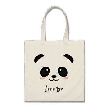Kawaii panda bear personalized tote bag
