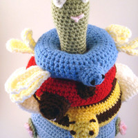A Day at the Pond Crochet Stackable Rings - Amigurumi (Frog, Bee, Ladybug, Dragonfly)