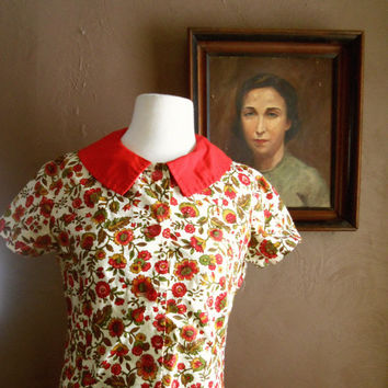 Could've Been Your Girl 1960s Red Peter Pan Collar Dropwaist Dress with Ochre/Green/Red/Brown Floral Detail