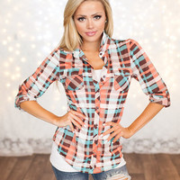 Top Pick Flannel Top Pink/Brown