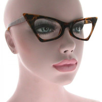 CLASSIC VINTAGE 50's RETRO CAT EYE Style Clear Lens EYE GLASSES Tortoise Frame
