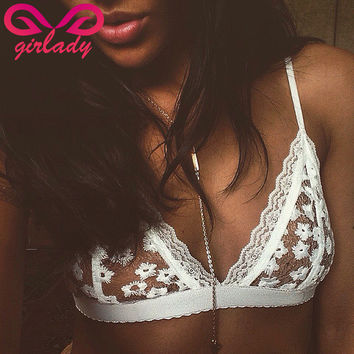 GIRLADY Women White Lace Flower Bralette Bras Top Hot Sexy See Through Brassiere Women Brand Cotton Mesh Lingerie Bra For Ladies