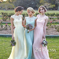 A-line cap sleeve Lace Long Prom Dresses, Bridesmaid Dress