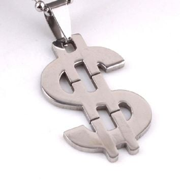 Stainless Steel Bead Chain Big Dollar Symbol Pendant Necklace