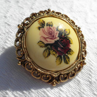 Rose Cameo Brooch 1928 Jewelry Company 80s Victorian Revival Plum Pink  Ivory Round Filigree Signature Texture Made USA New Old Stock 39934