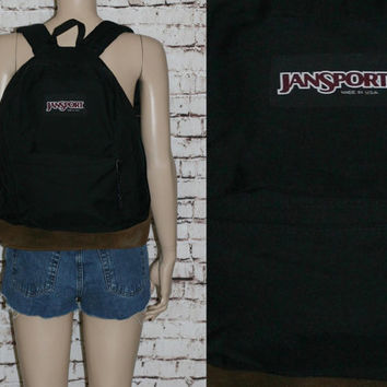 Jansport Backpack Canvas Leather Black Book bag Rucksack Day Pack Hipster Grunge Punk Cyber Goth Festival Mens Original 90s