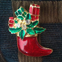 Red Boot Christmas Holiday Brooch Pin With Bright Red Green and Gold Enamel On Gold Tone Setting