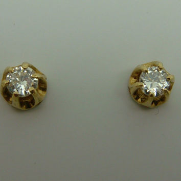 Vintage 1/2 ctw or .50ct Old Transitional Cut Diamond Stud Earrings 14k Yellow Gold Pierced Ears Art Deco
