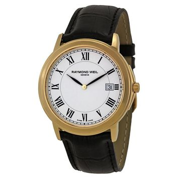 Raymond Weil Tradition White Dial Gold-Plated Mens Watch 54661-PC-00300
