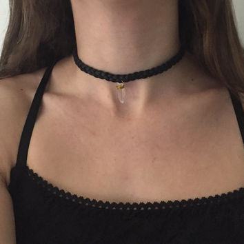 Braided Genuine Leather Choker Necklace with Crystal Charm