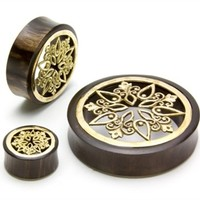 BRASS Inlay Sono Wood Organic Plugs