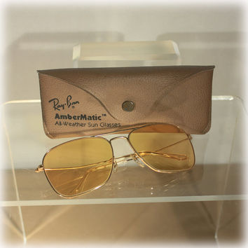 Ray Ban Aviator Shooter Ambermatic Yellow Sunglasses Original Case
