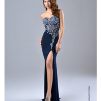 Nina Canacci 9045 High Slit Navy Gown Prom 2015