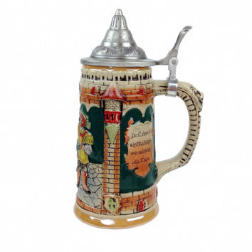 German Castle Engraved Beer Mug with Lid
