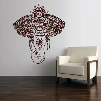 Wall Vinyl Sticker Decals Decor Art Bedroom Design Mural Ganesh Om Elephant Tattoo Head Mandala Tribal Pattern (z2648)