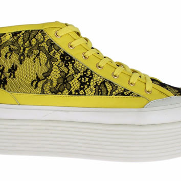 Dolce & Gabbana Yellow Leather Floral Lace Sneakers Shoes