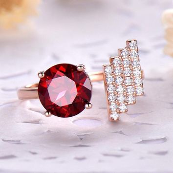 Natural Garnet Gemstone Ring For Women Silver 925 Jewelry Fine Jewelry Rose Gold Romantic Wedding Part Gift Fine Jewelry