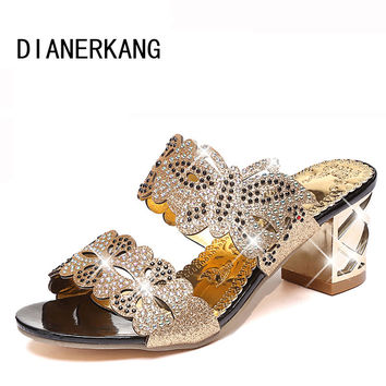 New fashion rhinestone cut-outs women sandals Square heel Party summer shoes woman high heel sandals with Butterfly L5