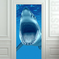 "GIANT Door Wall STICKER shark water ocean sea decole film poster 31x79""(80x200 cm)"