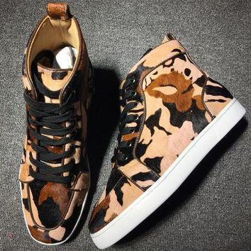 Christian Louboutin CL Leather Mid Style #2144 Sneakers Fashion Shoes Best Deal Online