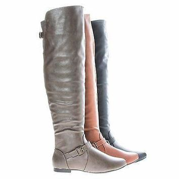Tiara44 Taupe By Bamboo, Over Knee High Slouchy Equestrian Riding Boots w/ Faux Fur Li