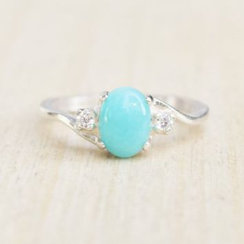 Amazonite Ring, Amazontie Ring Silver, Sterling Silver Ring, Turquoise Ring, Teal Ring, Aqua Ring