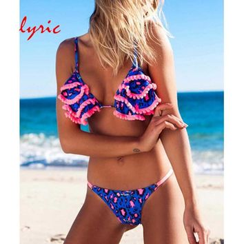 Lyric 2019 New Bikinis Women Swimsuit Summer Blue Swim Top Bathing Suit Padded Sexy Swimwear Bikini Brazilian Biquini