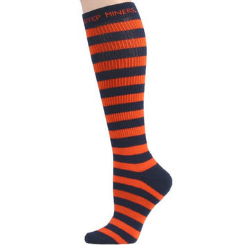UTEP Miners Ladies Orange-Navy Blue Striped Knee-High Socks