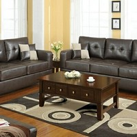 A.M.B. Furniture & Design :: Living room furniture :: Sofas and Sets :: Leather Sofa sets :: 2 pc Dark brown bonded leather match upholstered sofa and love seat set with square arms and tufted back