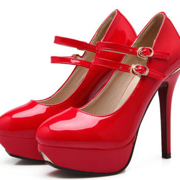 Sexy New Light Patent Leather Ultra High Heels Shoes Ankle-warp Red Bottom Bride Wedding Shoes Platform Mary Janes Women Pumps