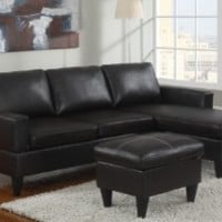Reversible Left / Right Sectional Couch with Free Ottoman Faux Leather (Black)