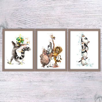 Madagascar animals, Set of 3, Nursery poster, baby gift, Art print, Crazy animals, Alex, Marty, Melman, Gloria, Kids room, Wall art kids V73